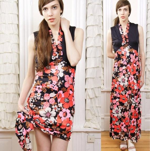 1970s Lola Poppy Flower Maxi Dress S