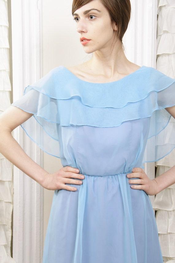 Cloudbursting Periwinkle Blue 70s Chiffon Dress S