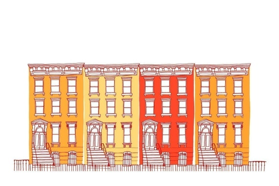 Houses All in a Row (orange)