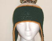 Green Bay Packer PomPom Earflap Hat - Adult