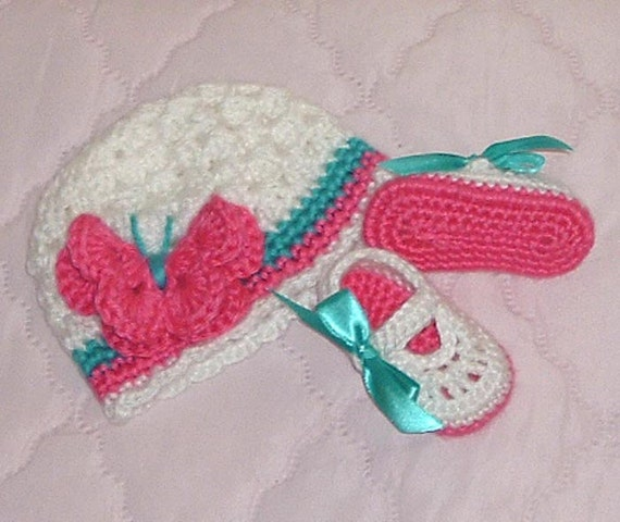 Infant-Newborn Pink and Turquoise Butterfly Beanie and Mary Jane Shoes