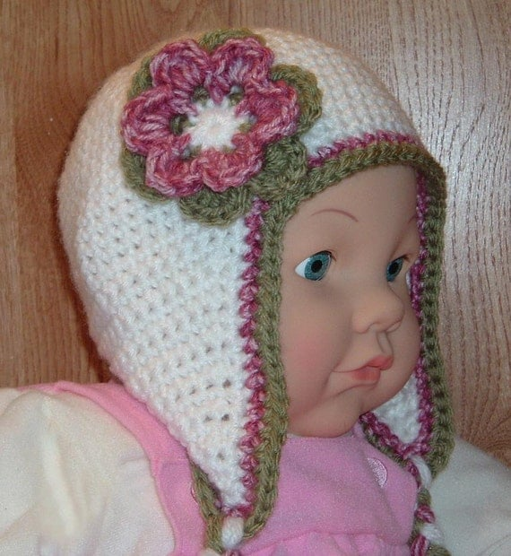 Ear Flap Hat with flower and braids for 9 to 12 month baby