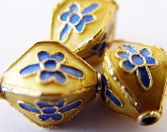 Lantern shaped cloisonne beads