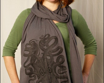 Gray Octopus Sheer Cotton Scarf