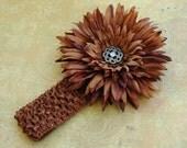 LAST ONE Cocoa Gerbera Daisy Flower with Crochet Headband