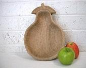 Vintage Wooden Fruit Bowl / hand carved / signed by artist