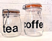 RESERVED for Lisajoy / Vintage Glass Canister Jars for tea and coffee