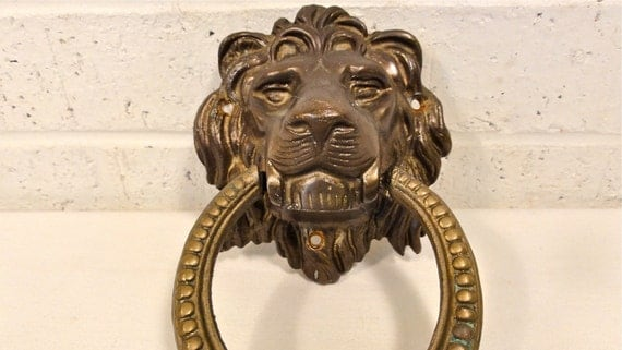 Items similar to vintage brass lion 39 s head door knocker on etsy - Antique brass lion head door knocker ...