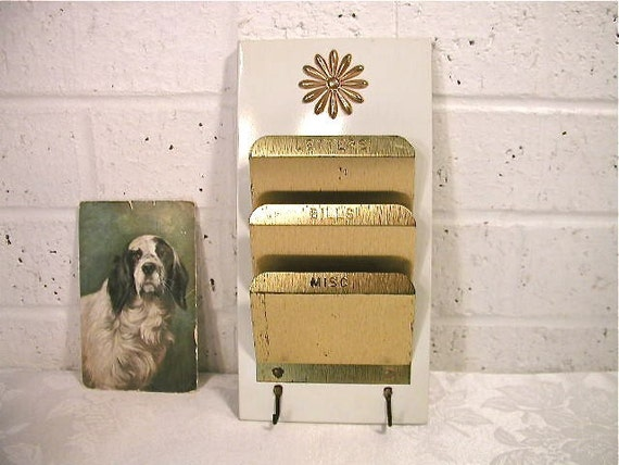 Gold Mail: Mid Century Modern White And Gold Mail Organizer By Bluebell
