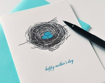 Mother's Day Card with Robin's Eggs and Letterpress Printed