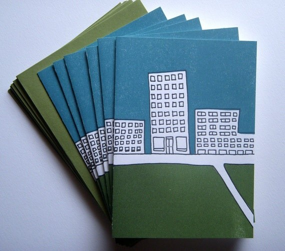 6 Letterpress Thank You / Note cards - Architecture Cityscape