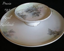Limoges Two Tiered Cracker AND Cheese Dip Bowl Plate  RARE PRUSSIA Antique Porcelain  On SaLe Now
