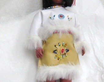 Folk Art Vintage INDIAN DOLL Beaded Clothing Southwest Art