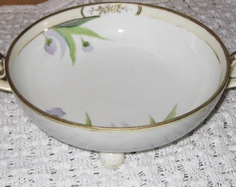 Antique Nippon Footed Bowl with Flowers Gilt China Porcelain On Clearance Now