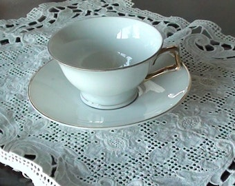 Bavaria Tea Cup and Saucer  SET Gold Rim VINTAGE On SaLe Now White Bridal Gift BridesMaids