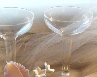 1940s Hollow Champagne Glasses, set of 2 For the BRIDE and GROOM Wedding  DiY Decor  Or Just for a Romatic New Year Eve