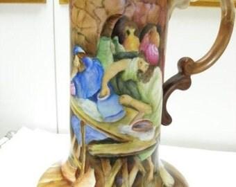 Jewish Art and Vintage Large Jar Pitcher Handpainted Art Renaissance Old World ARt Signed Craftsmen At Work  On SaLe Now