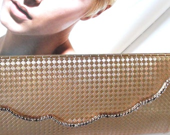 Art Deco Gold Tone Rigid Clutch Bag Type Evening Clutch Bag with Prong Set Cz and Inside Mirror Glam 1920s Diva