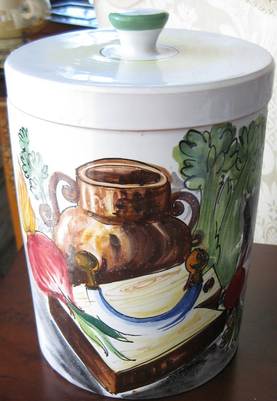 Italy Made Pottery Cookie Jar With Fruit Designs VINTAGE On SaLe Now