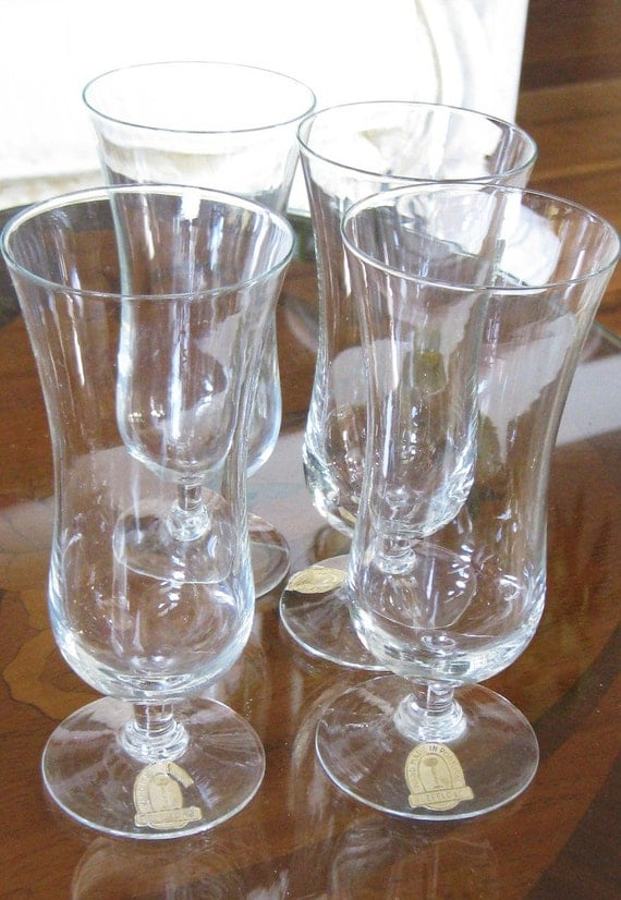Crystal Blefeld & co Parfait  Glasses Vintage 1960's Set of 4 made in Portugal  On Sale Now