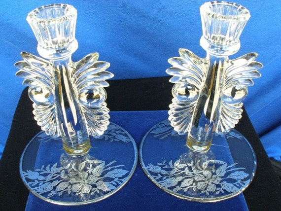 Fostoria Glass Antique Candle Holders Set Of Two Art Deco