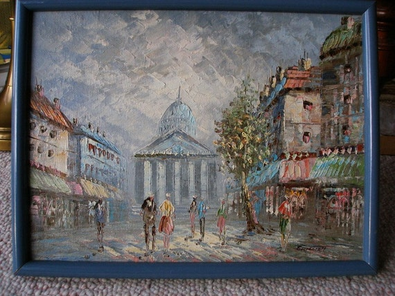 Oil Change Tools >> Paris Street Scene Oil Painting Signed Original Burnett