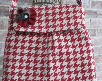 Sweet Pea Purse in Red and Cream Houndstooth Check