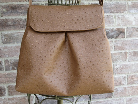 Sweet Pea Purse in Light Brown Faux Ostrich