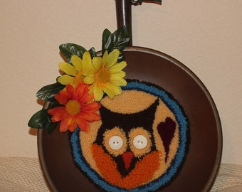 Folky Owl Punchneedle wall hanging