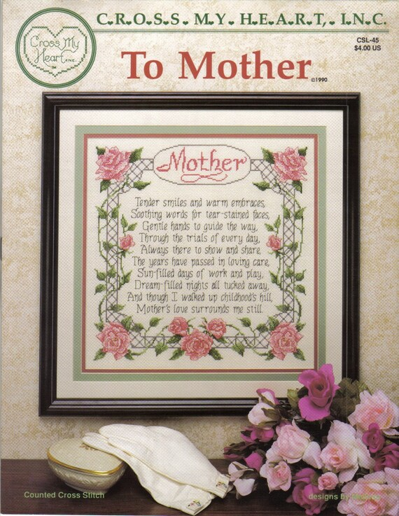 OVER HALF OFF SALE Cross My Heart 1990 To Mother CSL-45 by Melinda Cross Stitch
