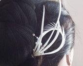 Sweet Silver Rhinestone Feather Hair Pin - Headpiece