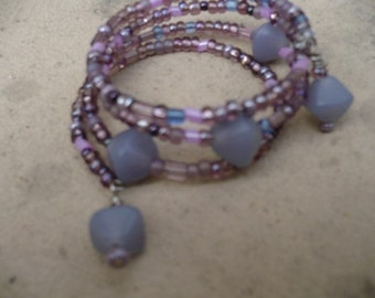 Orchid Seed Beads Wrapped Up in Memory Wire Bracelet with Violet Glass Beads One Size Fits Wrists