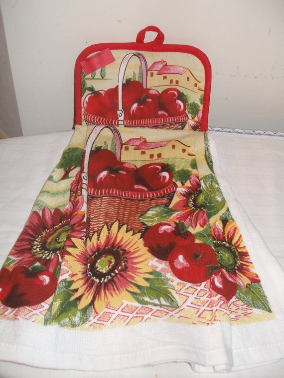 Potholder Topped Apples and Sunflowers Kitchen Towel