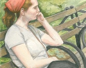 Original watercolor - Woman in Central Park - 18 1/2 x 13 inches