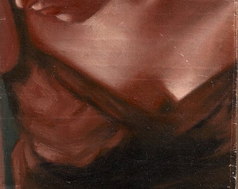Original oil on wood painting 4 x 4 inches - A Choice is Facing You