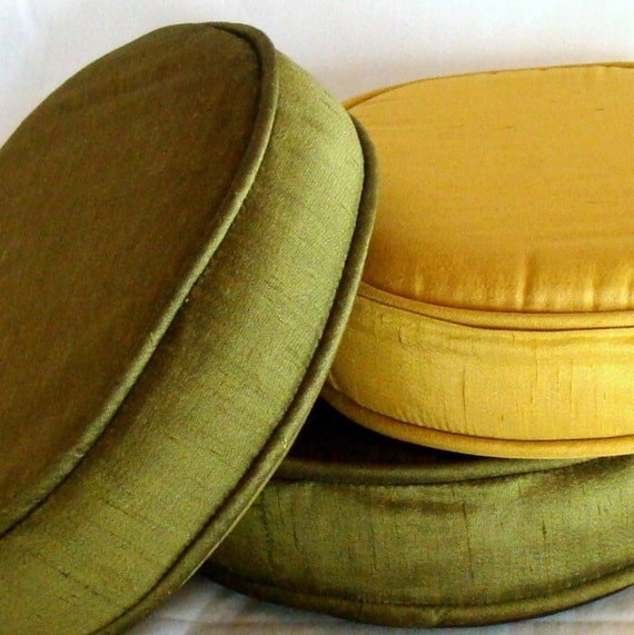 Mid Century Modern Round Pillow : Mid-Century Round Toss Pillows in Gold and Green Raw Silk Set