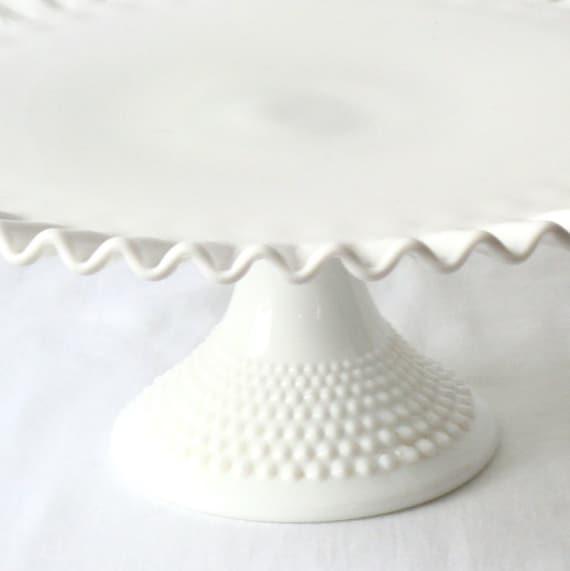 Vintage Fenton Mid-Century Milk Glass Pie Crust  Hobnail Cake Stand