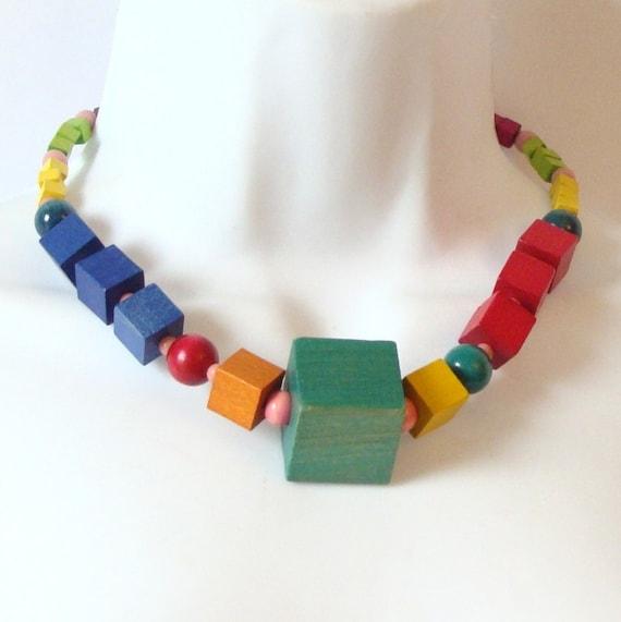 Vintage 1970's Geometric Wood Cube  Necklace Rainbow Colors