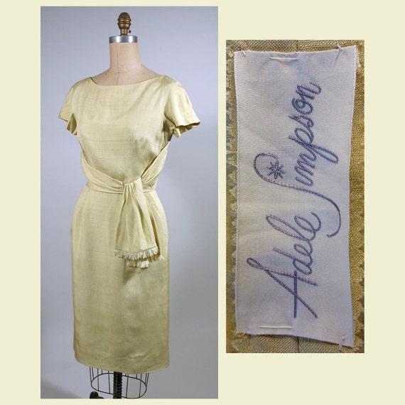 1950s Palest Yellow  Silk Adele Simpson Day Dress