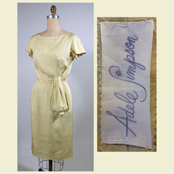 1950s Palest Yellow  Silk Adele Simpson Day Dress