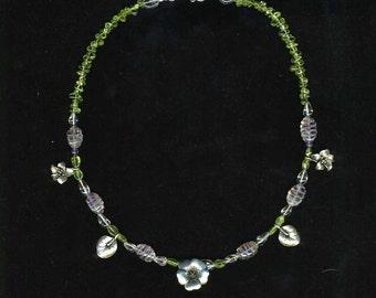 Floral Leaf Amethyst Peridot Necklace