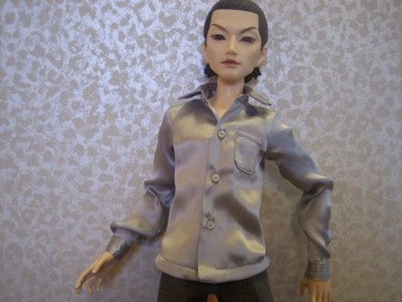 60 CM BJD Boy Doll - Real Guy Clothes Silver Silk Shirt