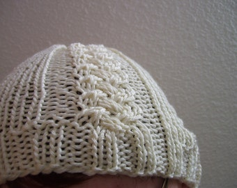 White Tie the Knot cable knit wool blend Hat