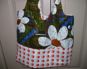 "Vintage Psychedelic floral Fabric Reversible tote bag w/ pockets 16"" by 14.5"""