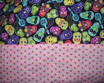 "Skulls and Strawberries Reversible Cotton Reusable Grocery bag 16"" by 13"""