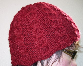 Red Apple Cable knit wool hat for men or women