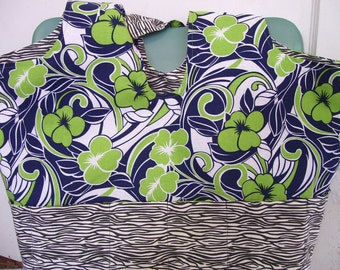 "Hawaiian and Zebra Reversible Cotton Book tote with pockets 16"" by 13.5"""