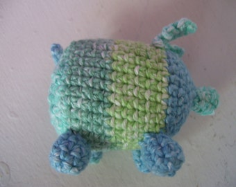 Cotton Amigurumi Squeaker Pig Plushie Dog toy green and blue striped