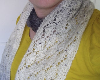 Dewdrop beaded lace scarf
