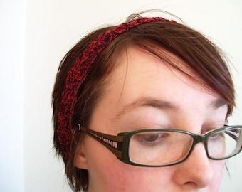 Crimson and black lace headband